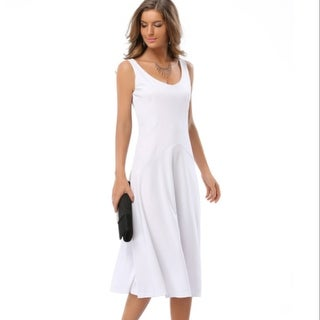 Fashion M-XXL Women Summer Pleated Dress Lady Girls Sleeveless