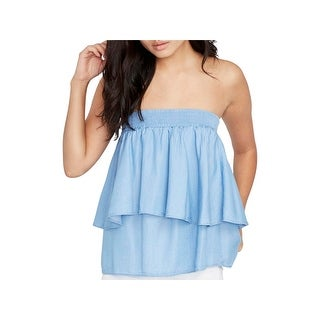 Rachel Rachel Roy Womens Strapless Top Chambray Tiered