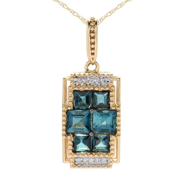 Gems en Vogue 14K Gold Indicolite & Diamond Pendant. Opens flyout.