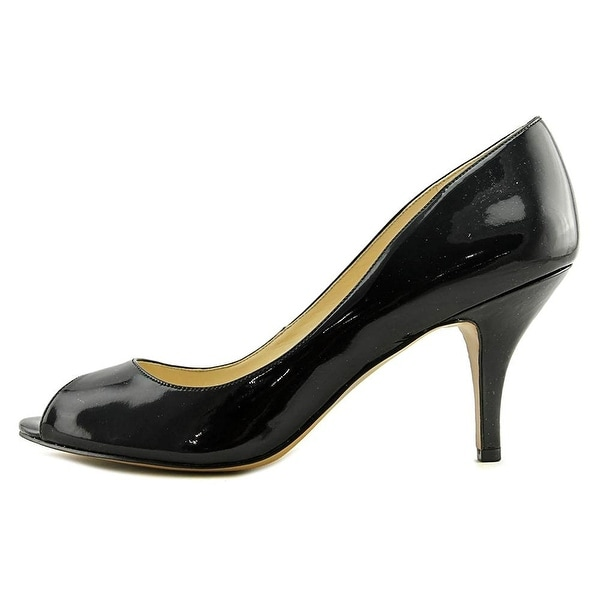 4a8c967e38 Nine West Womens ORISSA Leather Peep Toe Classic Pumps, Black2, Size 11.0