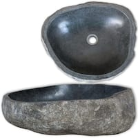 vidaXL Wash Basin Natural River Stone Gray Washbowl Sink Bathroom Washroom