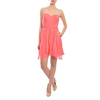 A.B.S. Silk Chiffon Flattering Pleated Ruched Sweetheart Party Cocktail Dress - 6