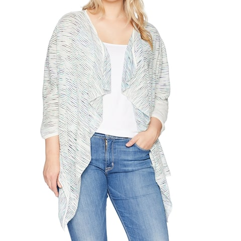 NIC + ZOE White Womens Size 2X Plus Textured Cardigan Sweater