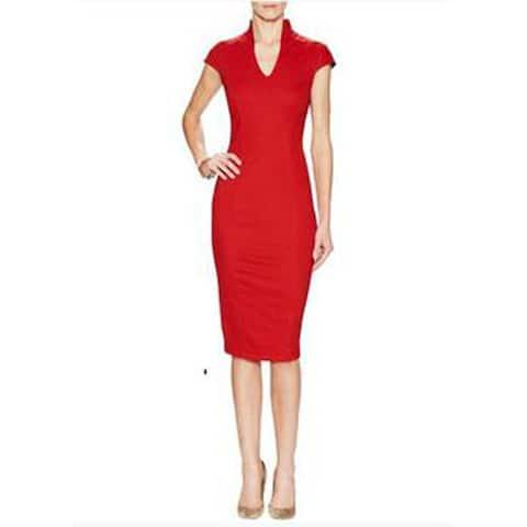 Alexia Admor V-Neck Midi Dress, Red, Large