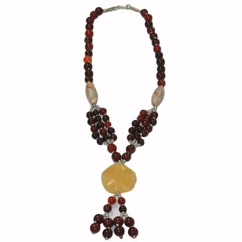 Handmade Red & Yellow Tribal Beaded Necklace (Afghanistan)