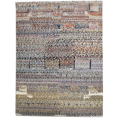 One of a Kind Hand-Knotted Modern 9' x 12' Abstract Wool Multi Rug - 9' x 12'