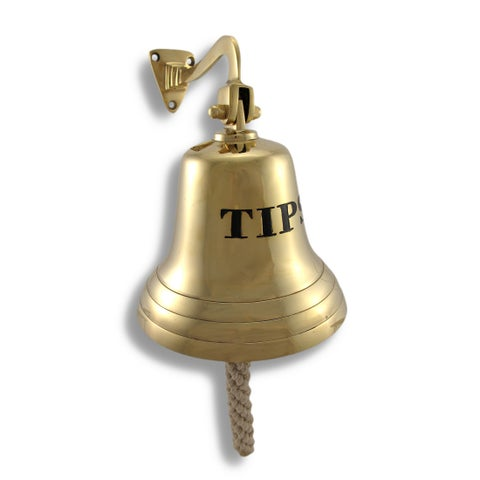 Solid Brass `Tips` Bell Wall Mounted Bartender`s Bell