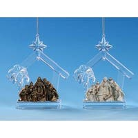 "Club Pack of 12 Icy Crystal Religious Nativity Stable Ornaments 5"" - CLEAR"