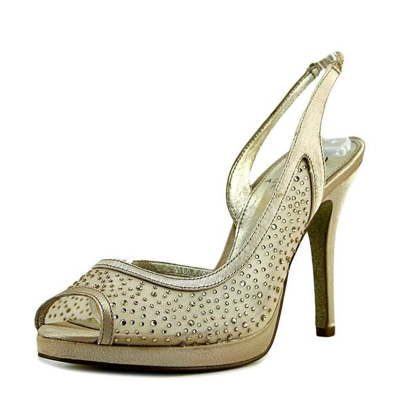 Adrianna Papell Georgi Women Peep-Toe Synthetic Gold Heels