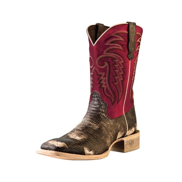 Outlaw Western Boots Mens Square Lizard Square Toe Chocolate Red