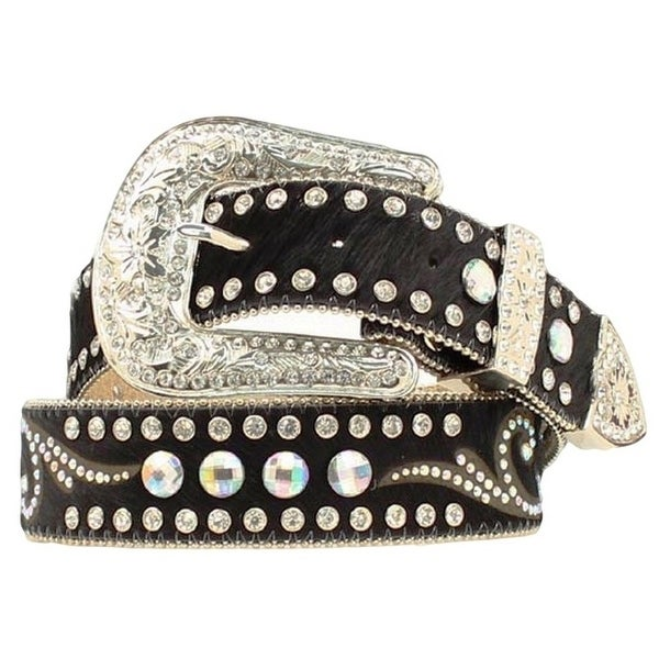 Nocona Western Belt Womens Leather Hair Rhinestones Black