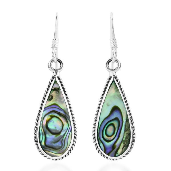 Handmade Classic Teardrop Shaped Stone Inlaid Sterling Silver Dangle Earrings (Thailand). Opens flyout.
