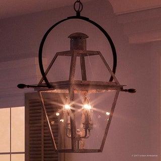 "Luxury Historic Outdoor Pendant Light, 29.5""H x 27.5""W, with Tudor Style, Antique Gas Lantern Design, Rustic Copper Finish"