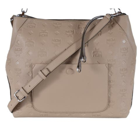 MCM KLARA Beige Leather Visetos Logo Medium Purse Handbag Hobo - Brown/Beige