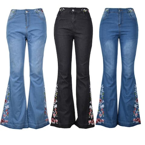 Women's Embroidered Flared Jeans Trousers