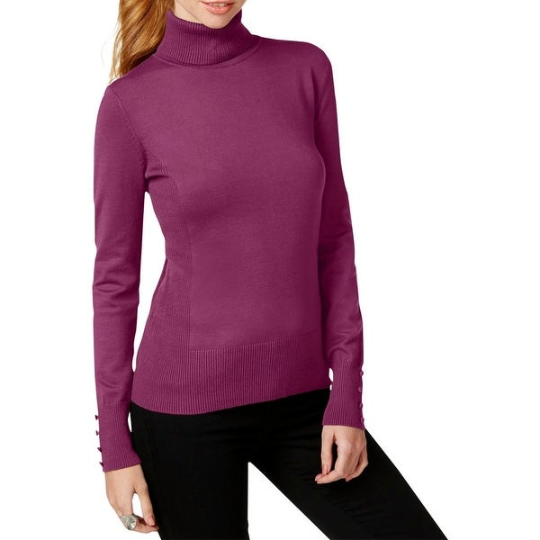 Cable & Gauge Womens Turtleneck Sweater Knit Ribbed Trim