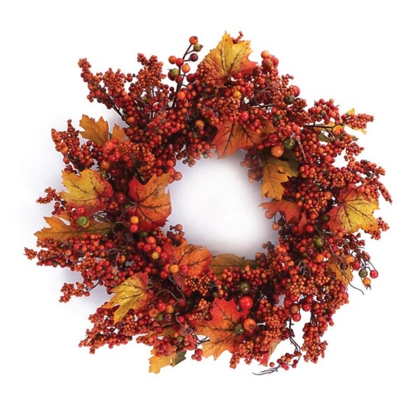 Pack of 2 Autumn Harvest Mixed Berry and Maple Leaf Artificial Wreaths 24""