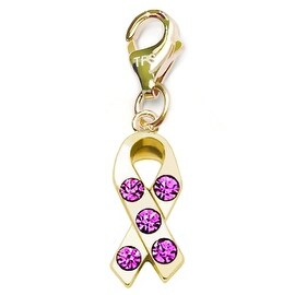 Julieta Jewelry Pink Ribbon CZ Clip-On Charm