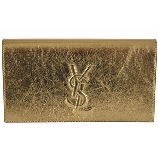"Saint Laurent YSL 361120 Gold Leather Large Belle de Jour Clutch Handbag - 11"" x 6"" x 2"""