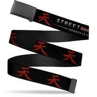 Blank Black  Buckle Street Fighter Assassin's Fist Akuma Symbol Black Web Belt