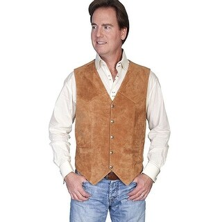 Scully Western Vest Mens Calf Leather Snap Rust 507-212