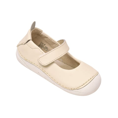 L`Amour Little Girls Cream Hook and Loop Sporty Mary Jane Shoes