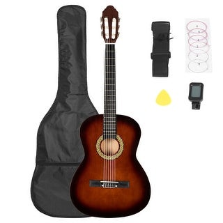 38 inch Classic Guitar with Bag & Board &Belt & Liquid Crystal Tuner & Strings Set