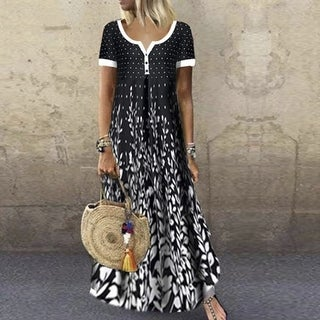 Link to Printed V-Neck Short Sleeve Maxi Dress Similar Items in Dresses