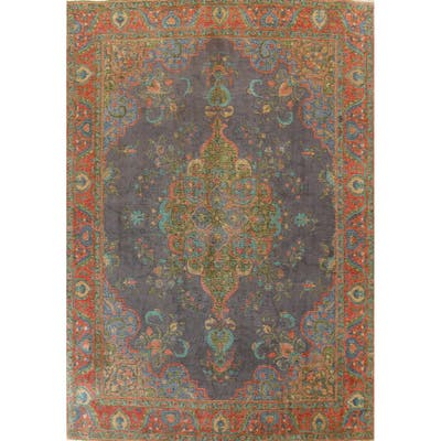 """Antique Distressed Over-Dye Tabriz Persian Wool Area Rug Hand-knotted - 9'8"""" x 12'8"""""""