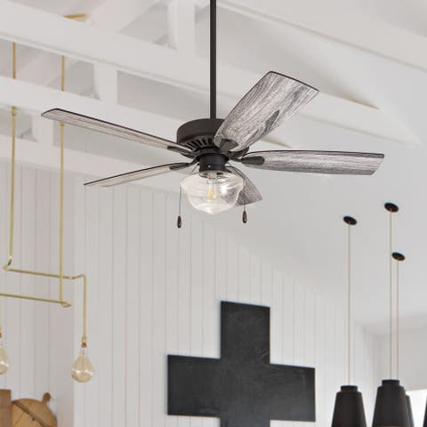 The Gray Barn Belvoir 52-inch Coastal Indoor LED Ceiling Fan with Pull Chains 5 Reversible Blades - 52