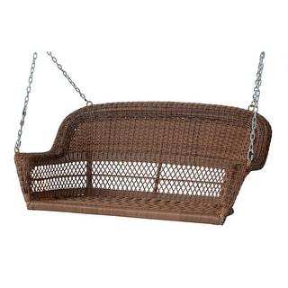 "51.5"" Hand Woven Honey Brown Resin Wicker Outdoor Porch Swing"
