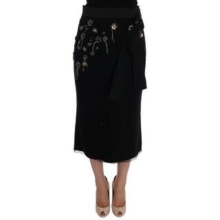 Dolce & Gabbana Black Wool Crystal Skirt - it46-xl