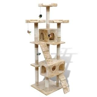 """vidaXL Cat Tree Scratching Post 67"""" 2 Condos Beige"""