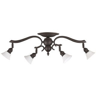 Canarm Addison 4 Light Track Light with Flat Opal Glass - Oil Rubbed Bronze - Oil Rubbed bronze