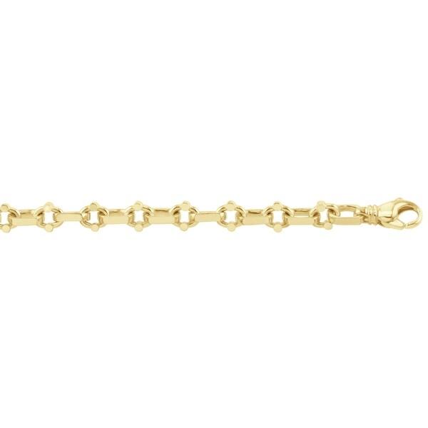 Men's 10K Gold 9 inch Fancy Link Chain Bracelet