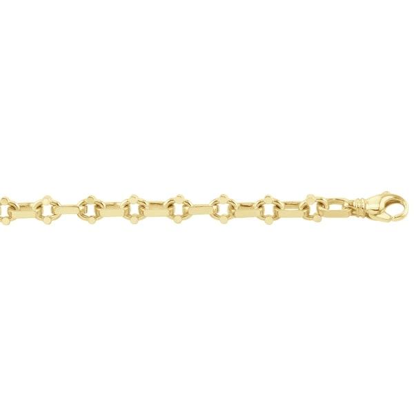 Men's 14K Gold 8 inch Fancy Link Chain Bracelet