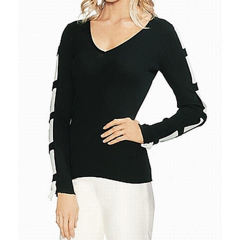 Vince Camuto Black Womens Size Small S V-Neck Contrast Sweater