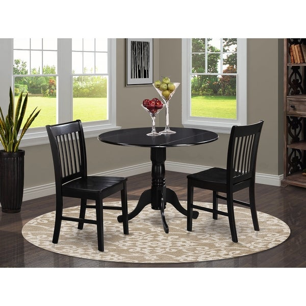 Black Kitchen Table Plus 2 Dinette Chairs 3-piece Dining Set. Opens flyout.
