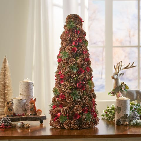 Mariana Pre-Decorated Pine Cone and Glitter Artificial Tabletop Christmas Tree by Christopher Knight Home
