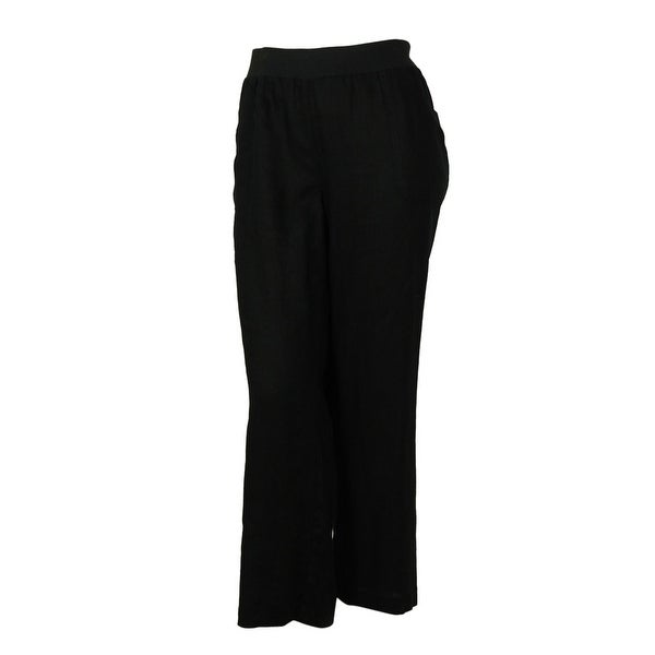 INC International Concepts Women's Wide Leg Linen Pants - deep twilight