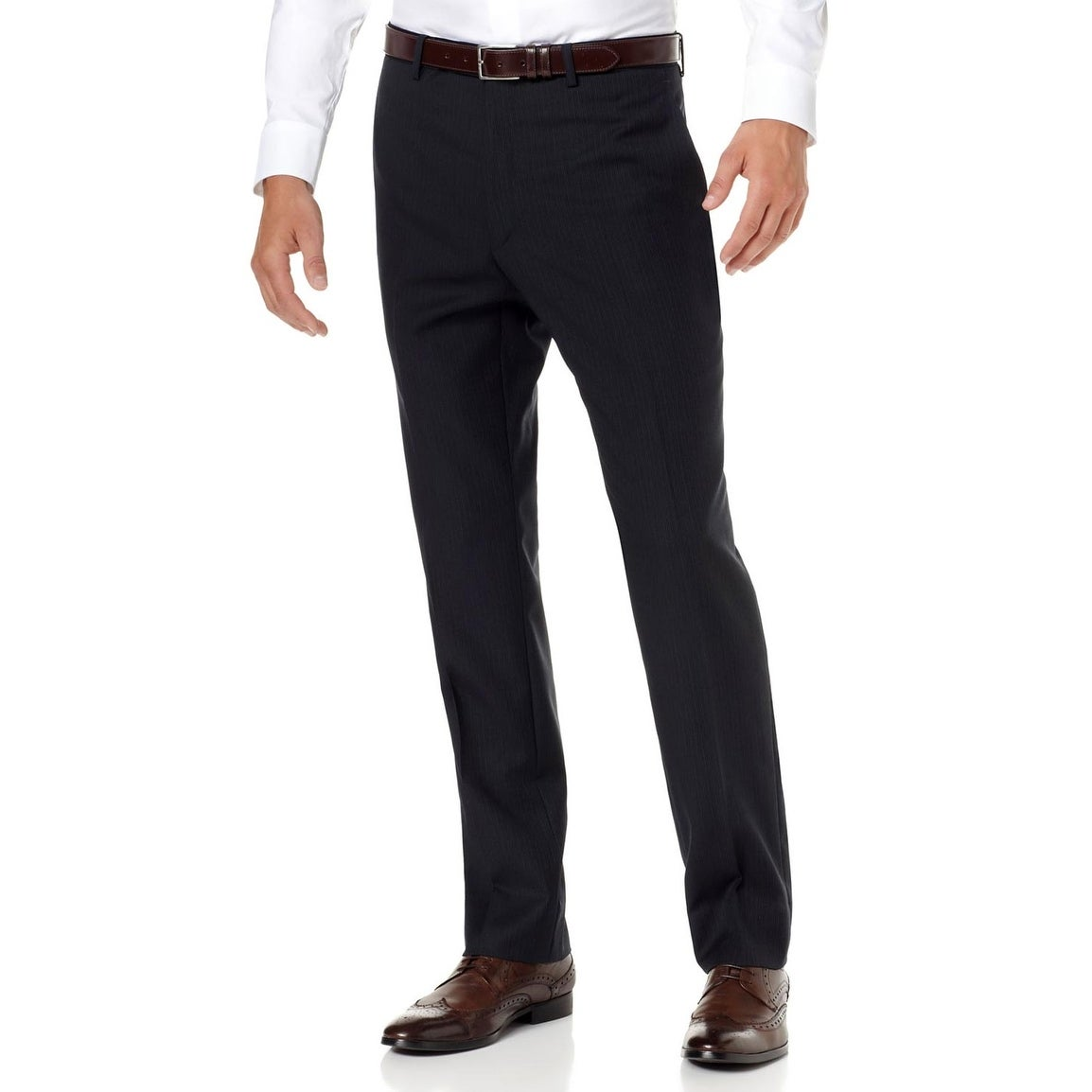 Alfani Classic Fit Black Striped 100/% Wool Flat Front Hemmed Dress Pants