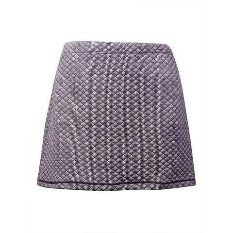 Studio M Women's 'Josette' Quilted Houndstooth Mini Skirt (XL, Black/White) - BLACK/WHITE - XL