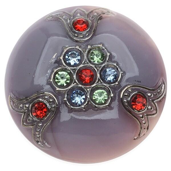 Czech Glass Flat Back Button Cabochons, Rhinestone Studded 31mm Round, 1 Piece, Mulit Color