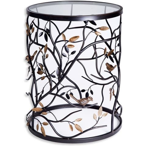 Palais Furnishings 'Feuilles' Metal Barrel End Table, Modern Round Side End Accent Table Living Room