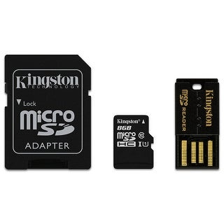 Kingston Digital Mobility Kit 8GB Flash Memory Card Class 10 with Micro SD Adapter and Reader - Black