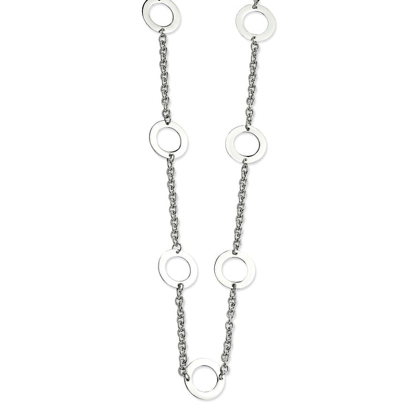 Chisel Stainless Steel Polished Circles 26 Inch Necklace (20 mm) - 26 in