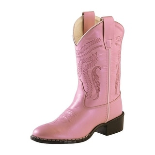 Old West Cowboy Boots Girls Kids Leather Round TPR Silver Pink 1160