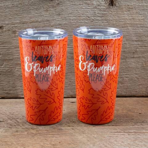 "Cambridge Silversmiths Set of 2 -20oz Orange ""Pumpkin Please"" Inuslated Highballs - 20 ounce"