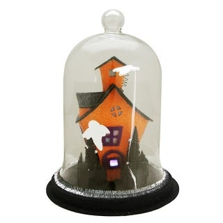 """9.75"""" Color Changing LED Spooky House with Ghosts on the Roof Halloween Cloche - Clear"""