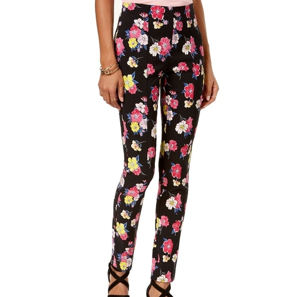 XOXO Pink Women's Stretch Floral Printed Pants